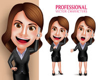 Professional Woman Character with Business Outfit Happy Smiling Stock Image