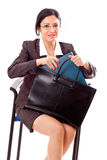 Professional Woman With Documents Bag Stock Photos