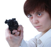 Professional woman with a gun Royalty Free Stock Photos