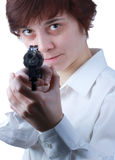 Professional woman with a gun Royalty Free Stock Image