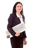 Professional Woman Holding Keyboard Stock Photography