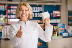 Professional woman pharmacist at work Royalty Free Stock Images