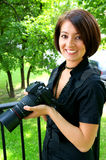 Professional woman photographer Stock Photo