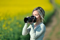 Professional woman photographer Royalty Free Stock Images