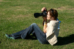 Professional woman photographer Stock Photography