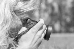 Professional woman photographer Royalty Free Stock Photography
