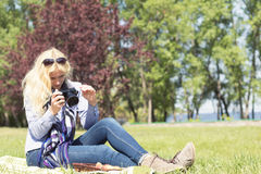 Professional woman photographer Royalty Free Stock Image