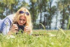 Professional woman photographer Stock Image
