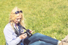 Professional woman photographer Stock Images