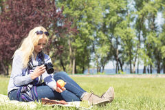 Professional woman photographer Stock Image