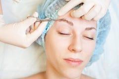Professional woman at spa beauty salon doing correction eyebrow Stock Photography