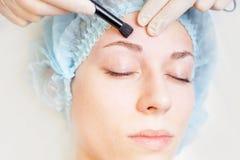 Professional woman at spa beauty salon doing correction eyebrow Royalty Free Stock Photos