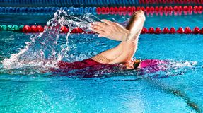 Woman in swimming pool. Crawl swimming style. Professional woman in swimming pool. Crawl swimming style royalty free stock image