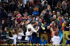 Professional woman tennis player making selfies with the fans. CLUJ NAPOCA, ROMANIA - FEBRUARY 11, 2018: Romanian tennis player Irina Begu making selfies with Royalty Free Stock Photography
