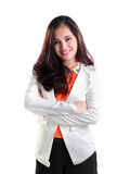 Professional woman in white suit isolated royalty free stock photography