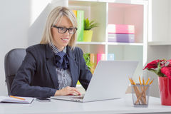 Professional woman working with computer Stock Images