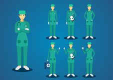 The professional woman young doctors green scrub uniform black hairs all action character design set Royalty Free Stock Photos