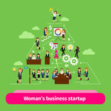 Professional women business structure. Businesswomens startup group vector illustration Stock Images