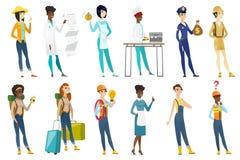 Professional women vector illustrations set. Royalty Free Stock Photo