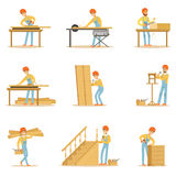Professional Wood Jointer At Work Crafting Wooden Furniture And Other Construction Elements Vector Illustrations Stock Photos