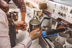 Professional work of accurate barista royalty free stock images