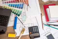 Professional worker drawing on house project Royalty Free Stock Photography