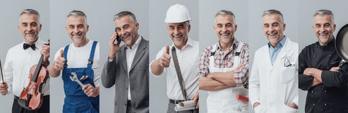Professional workers collage Royalty Free Stock Images