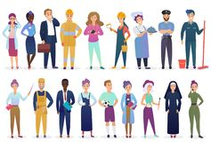 Professional workers people set standing together. Different occupation employment and teamwork vector illustration. Professional workers people set standing vector illustration