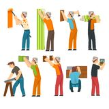 Professional Workers Set, Handymen Characters Working with Equipment Vector Illustration stock illustration