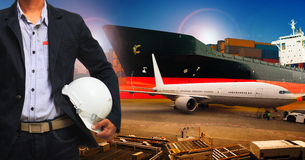 Professional working man in air freight ,cargo logistic  and ind Royalty Free Stock Photography