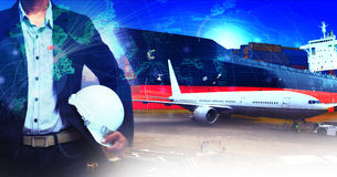 Professional working man in air freight ,cargo logistic  and ind Stock Photos