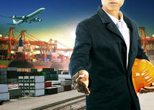 Professional  working man  in freight import export logistic ind Royalty Free Stock Photo