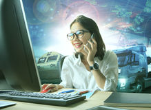 Professional working woman and logistic industry business Stock Photo
