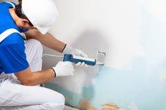 Professional Workman Applying Silicone Sealant With Caulking Gun Stock Photos