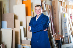 Professional workman standing with plywood pieces Stock Photography