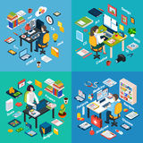 Professional Workplace Isometric 4 Icons Square Royalty Free Stock Images
