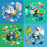 Professional Workplace Isometric 4 Icons Square. Professional workplaces of freelance photographer teacher and financial  advisor 4 isometric icons square Royalty Free Stock Photos