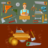 Professional workspace carpenter tools Royalty Free Stock Images