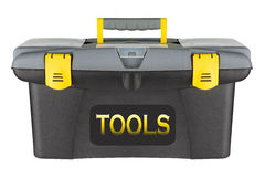 Professional yellow toolbox isolated on a white background Royalty Free Stock Photography
