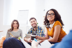 Professional young colleagues are sharing their opinions Stock Photo