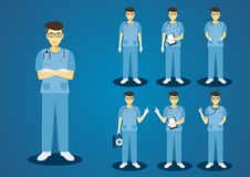 The professional young doctors blue scrub uniform Stock Photos