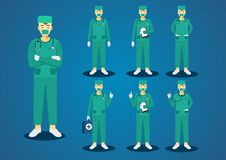 The professional young doctors green scrub uniform short brown hairs all action character design set Stock Photography