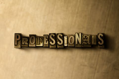 PROFESSIONALS - close-up of grungy vintage typeset word on metal backdrop Royalty Free Stock Image