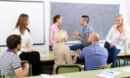 Professionals and coach at training royalty free stock image