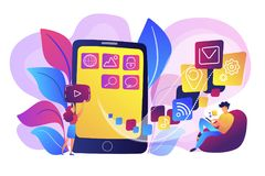 Mobile application development vector illustration Royalty Free Stock Images