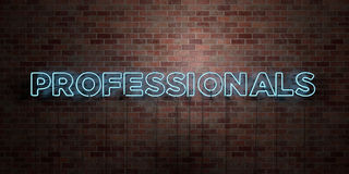 PROFESSIONALS - fluorescent Neon tube Sign on brickwork - Front view - 3D rendered royalty free stock picture Royalty Free Stock Photo