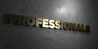 Professionals - Gold text on black background - 3D rendered royalty free stock picture Royalty Free Stock Image