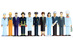 Professionals. Line of men and women in professional uniforms Royalty Free Stock Image