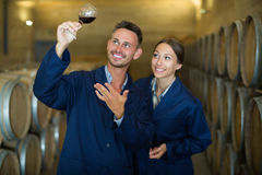 Professionals in uniform holding glass wine in big cellar Stock Photos