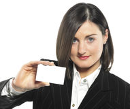 Professionals woman. Close-up of professionals woman  white business card Royalty Free Stock Photos